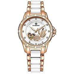 STARKING Women's AL0219RC31 Two-Tone Goldfish Embossment Automatic Watch Ceramic Stainless Steel Bracelet