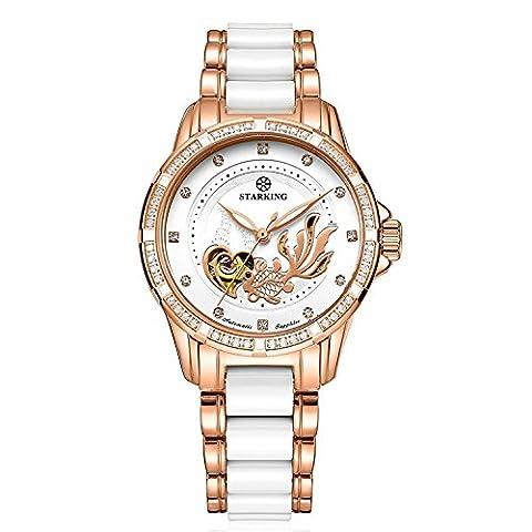 STARKING Uhr Rosegold Keramik Automatik Damen AL0231 Wasserdicht Leuchtend Edelstahl Strass Skelett Saphir Luxus 36mm