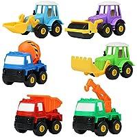 Voiture Miniature Véhicule de Construction Chantier à Friction Lot 6 Pcs Jouet Enfant Garçon Fille 3 Ans