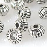 30 Metallperlen Spacer Kugeln 4mm Metall Perlen geriffelt altsilber -1293
