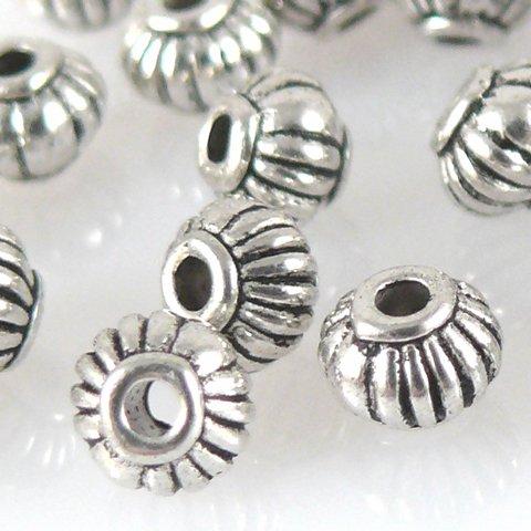 30 Metallperlen Spacer Kugeln 4mm Metall Perlen geriffelt altsilber -1293 Metall-perlen