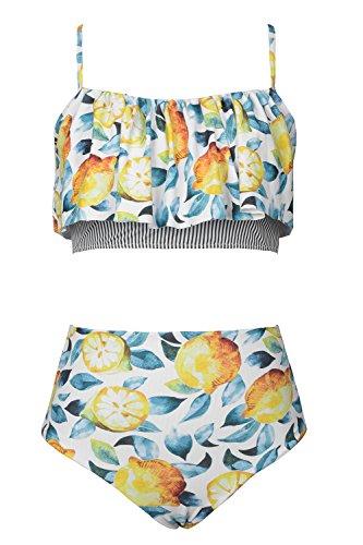 CUPSHE Sommer und Limonen Volants Bikini Anzug (XL, Mehrfarbig) -