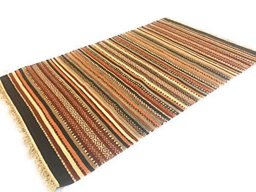 fair trade teppiche Second Nature Shillong Geometrische Streifen Wolle Kelim Teppich (Fair Trade) 120cm x 180cm