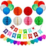 Picture Of Lictin Birthday Party Decorations Favors, Happy Birthday Banner with 6 Pack Honeycomb Balls 1 Colorful Heart-shape Paper Garland and 10 Balloons, Party Supplies( Multicolor)
