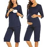 MAXMODA Damen Baumwolle Umstandspyjama Stillschlafanzug 3/4 Ärmeln Stillpyjama Zweiteilig Schwangerschaft Hausanzug mit Lange Hosen mit Stillfunktion Navy Blau M