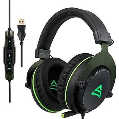 SUPSOO G817 surround suono stereo Cuffie auricolari per cuffie auricolari per giochi per PC con microfono a cancellazione del rumore e controllo del volume (nero e verde)