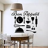 Vinilo adhesivo para pared Bon Appetit adhesivo vinilo adhesivo decoración del hogar diseño Interior dormitorio cocina Cafe restaurante Mural AH41