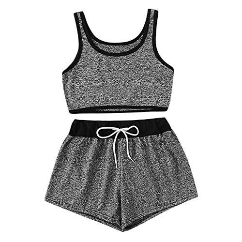 YULAND Sexy Jogginganzug Damen Für Frauen, 2 STÜCKE Mode Frauen Anzug Feste Top Tank Top Weste + Kordelzug Taille Shorts Set