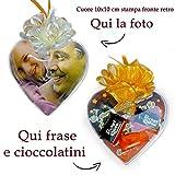 Cuore personalizzato con foto cioccolatini frase Idea Regalo per la Festa del Papà