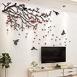 Asvert Stickers Autocollants Muraux 3D en Acrylique Branches Incurvées et des Oiseaux(Rouge)...