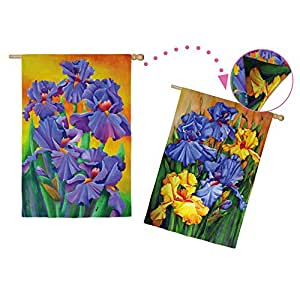 Purple Irises Flowers Two Sided House Flag