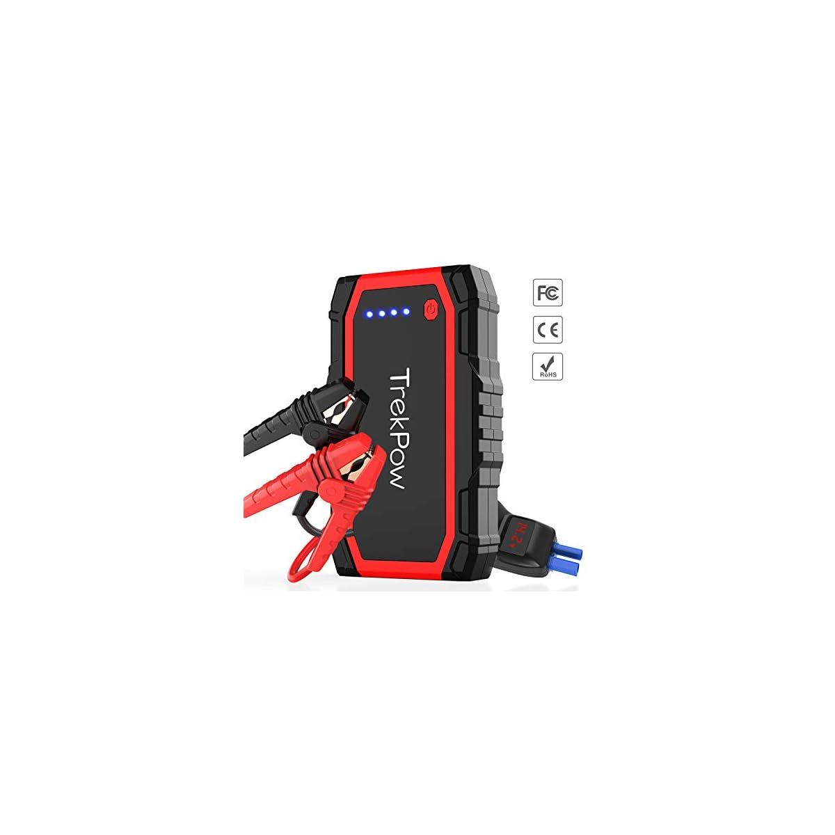 51MPkStDt8L. SS1200  - TrekPow Arrancador de Baterías de Coche A18, 800A Arrancador de Coches con Pinzas Inteligentes y Pantalla LED, Banco de Baterías con USB QC3.0 & Tipo C, Diseñado para 12V 6L Gasolina y 5L Diésel