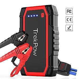 TrekPow A18 Arrancador de Coches 800A, Jump Starter con Pinzas Inteligentes, Banco de Baterías con USB QC3.0 & Tipo C, Diseñado para 12V 6L Diésel y 5L Gasolina