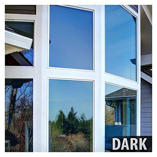 BdF PRBL Fenster Film Premium Farbe Hohe Hitze Kontrolle und tagsüber Sichtschutz blau (Gold-getönten Hardware)