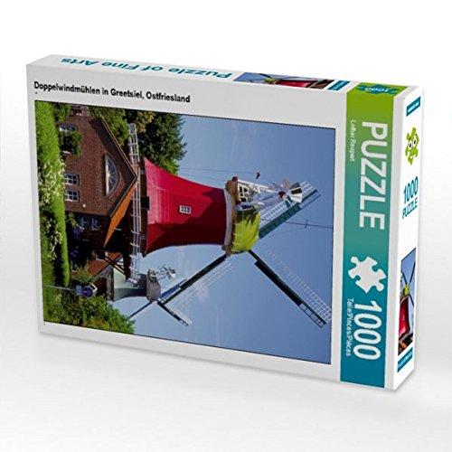 Doppelwindmühlen in Greetsiel, Ostfriesland 1000 Teile Puzzle hoch