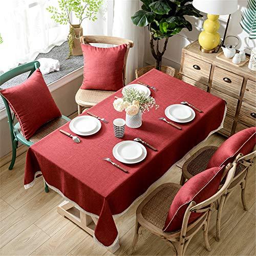 DHHY Dicke Baumwolle und Leinen Tischdecke Einfarbig Spitze Staubdicht Kaffeetischdecke Wohnkultur Tischdecke K 90X90 cm / 35X35in