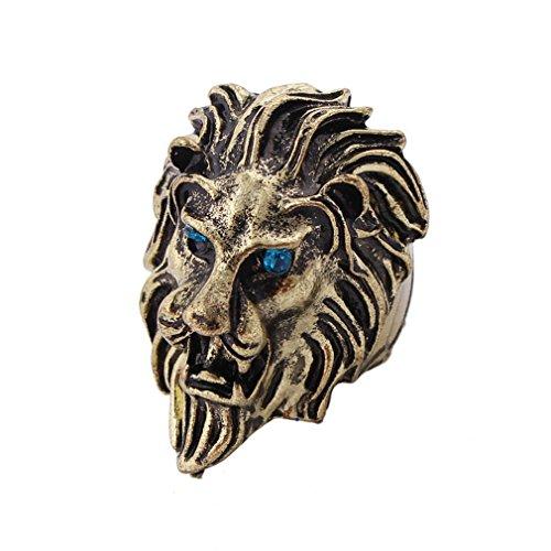 SORELLA\'Z Men\'s Stainless Steel Alloy Metal Lion Head King Ring (US-9, Earrings2, Multicolour)