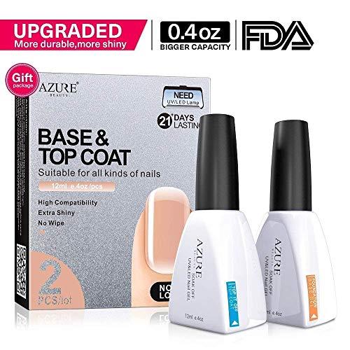 Azure Beauty UV Nagellack Base und Top Coat (2*12ml), UV LED Gellack, 2 Stück Große Kapazität mit Geschenkbox