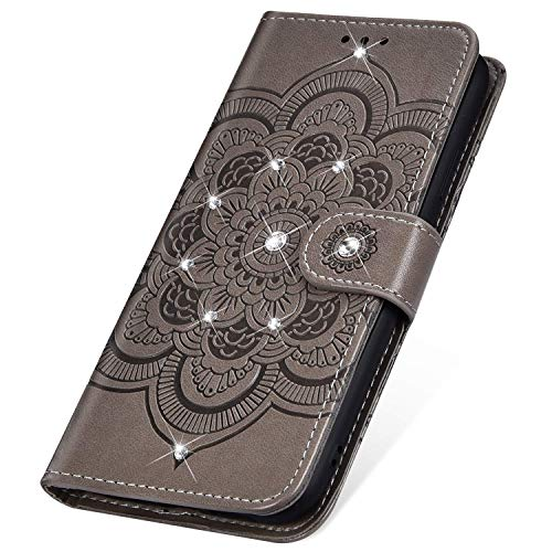 SainCat für LG Q Stylus Hülle Bookstyle Leder Glitzer Case Premium Handyhülle mit Bling Strass Mandala-Blume Standfunktion Stoßfest Komplett Flip Schutzhülle für LG Q Stylus/LG Stylo 4-Grau Q Smartphones