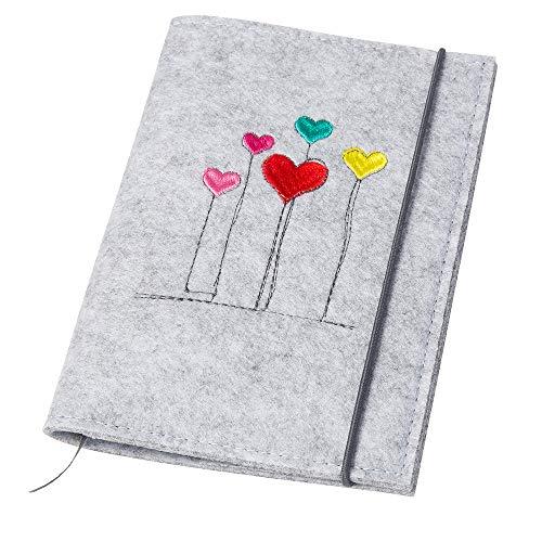 Mutterpasshülle 'Herzblumen' aus Filz hellgrau (Farbe wählbar)| Design Hülle für deutschen Mutterpass mit Gummiband