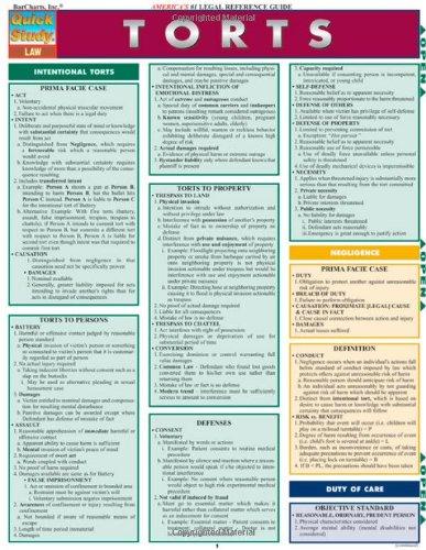 Torts (Quick Study Law) por BarCharts  Inc.