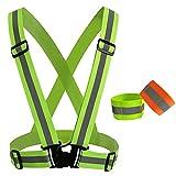 ZXJOY Bretelle catarifrangenti ad alta visibilità, per uomo e donna, per correre, passeggiare o andare in bicicletta di sera in tutta sicurezza, A
