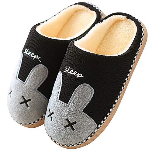Hiver Lapin Pantoufle Femme Pantoufles Coton Peluche Chaussons Doublure Intérieure Douce Mules Homme Chaudes Accueil Slippers Noir,44 EU