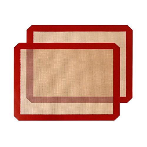 SIBO® Non-Stick Silikon Backmatte 16,33 x 11,53 Zoll Wiederverwendbare Safe Ofen Liner Cookie Blatt Kochen Backen Tray Professional Food Grade (2 Stücke) (Silikon Cookie Blatt)