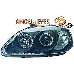5207280 LHD Right Left Passenger Driver Side RH LH Projector Headlight Headlamp Pair Angel Eyes Clear Black H1 H1