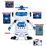 S S TRADERS White Naugty Dancing 3 D Robot LED Light And Music Toy -Electric Smart Space Walking Dancing Robot With Music & 3D Lights & 360 Rotation - Good Gift For Kids