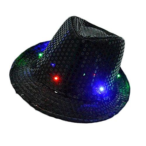 TILO LED-Jazzmütze, Unisex, Erwachsene, Glitzer, Pailletten, Jazzhut, LED-Beleuchtung, Fedora, Cowboyhut, Kostüm, Party, mit 9 blinkenden LED-Lampen, 58 cm, Jazz Hat Black, schwarz, 28 X 24 X 11 - Anzahl Für Erwachsene Kostüm