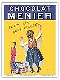 Chocolat Menier - Éviter Les Contrefaçons - Compagnie de chocolat français - Ancienne affiche publicite Vintage Poster by Firmin Bouisset c.1893 - Reproduction Professionelle d'art Master Art Print - 23cm X 31cm...