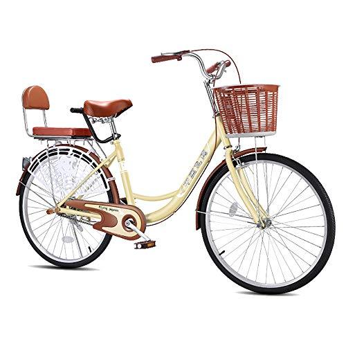 Einfaches Fahrrad für Erwachsene, hohe Härte und kohlenstoffhaltiger Stahl 24 '' für Männer/Frauen, Singlespeed-Fahrrad, Outdoor-Straßenräder - braun