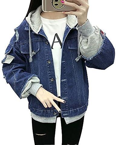 Minetom Femme Élégant Blouson Classique Bleu Denim Jacket Simple Boutonnage Coats Rose Brodé Manteaux Lavé Jeans Veste Blousons C Bleu Foncé FR 42