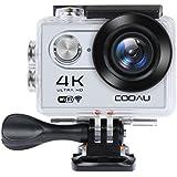 Caméra Sport 4K WiFi Caméra Étanche 30m avec 12MP Full HD, 170° Grand-Angle, Ecran LCD 2.0 Pouces, 1050mAh Batterie Rechargeable - Argent