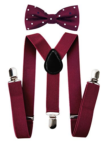 axy Kinder Hosenträger-Y Form mit Fliege set - 3 Clips EXTRA STARK-Uni Farben (Weinrote Hosenträger + Fliege Nr.7)