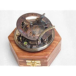 RIRHTAJUS Messing Antik Sonnenuhr Kompass voll funktionsfähiger Kompass mit Palisander Box
