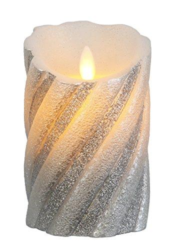 """Star LED-Wachskerze""""Twinkle Flame"""" gedrehte Struktur mit beweglicher Flamme, batterie betrieben Sichtkarton, 13 x 8 cm, silber 068-75"""