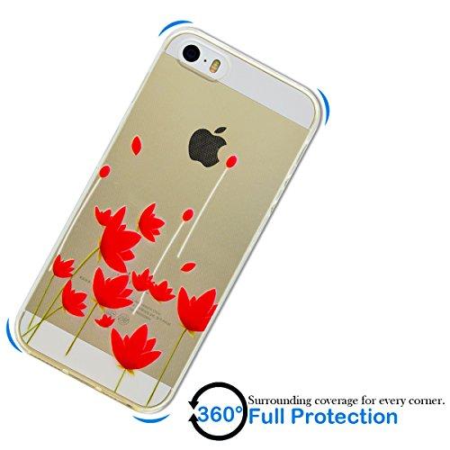 Coque iPhone SE, Coque iPhone 5S, SpiritSun Etui Coque TPU Slim Bumper pour Apple iPhone SE / 5 / 5S Souple Housse de Protection Flexible Soft Case Cas Couverture Anti Choc Mince Légère Transparente S Fleur Rouge