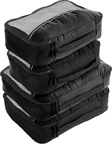 Packwürfel 4pcs Wert Set für Reisen - Plus 6pcs Gepäck Veranstalter Zip Beutel (Schwarz) …