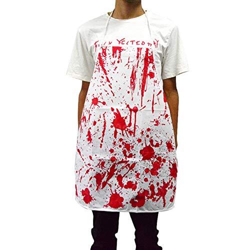 Mumulia Halloween Bloody Butcher Kostüme Scary Cooking Chef Schürze Zombie Party Zubehör Phantasie Cosplay Kostümdekorationen (Metzger Halloween Dead)