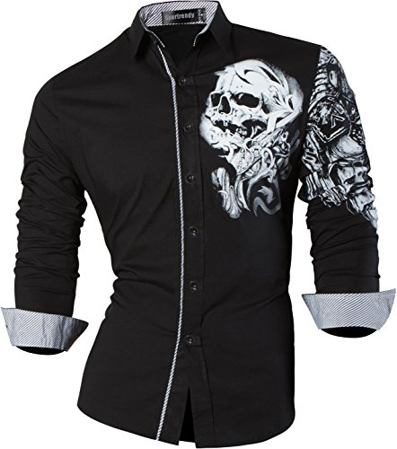 Sportrendy Herren Freizeit Hemden Slim Button Down Long Sleeves Dress Shirts Tops MFN2_JZS041 (USA S (Chest 96-102cm), ()