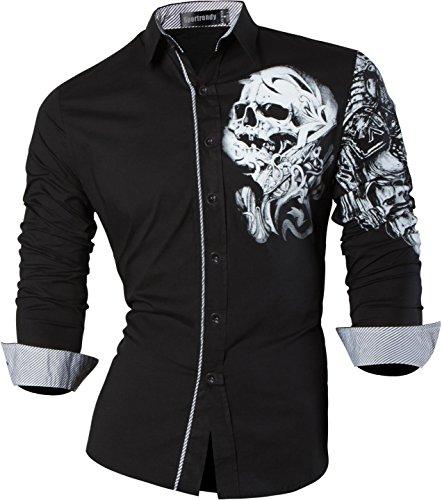 Sportrendy Hombre Casual Slim Dragon Tattoo Manga Larga Button Down Camisa Shirt Black