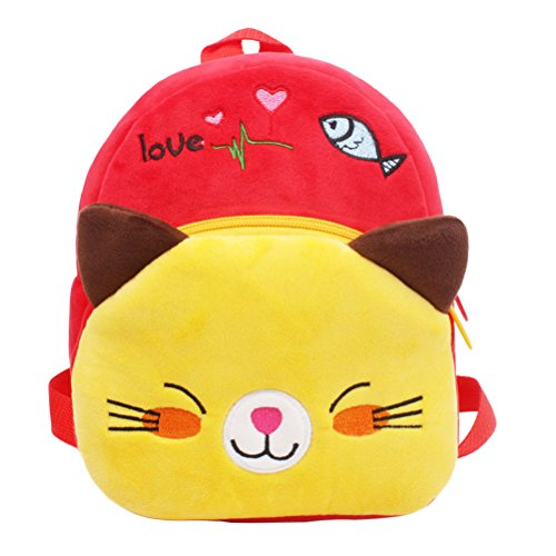 Tinksky Kleinkind Schultertasche Plüsch Tasche Vorschule Satchel Kleine Tasche Red Katze Tier Plüsch Nursery Schulter Rucksack für Baby 1-2 Jahre Plüsch Für Kleinkinder