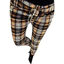 32ca5ce139 Pantalones de Cuadros Escoceses para Mujer Invierno Otoño PAOLIAN Pantalón  Lápiz Alta Cintura Vestir Tallas Grandes