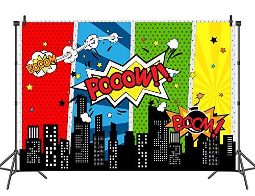 Fotografiehintergrund der Stadt 7x5ft mit Superheld-Masken für Kindergeburtstagsfeier-Dekoration, Studio-Superheld-Fotografie-Hintergrund