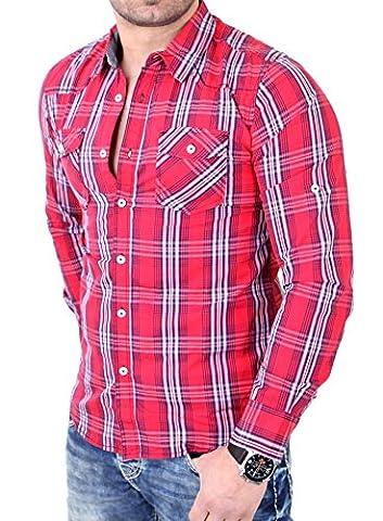 Reslad Herren Hemd Authentic Style Fein Karo Langarmhemd RS-7696 Rot XL