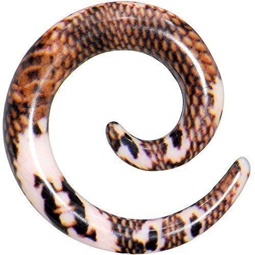 6-calibre-rubor-piel-de-serpiente-patron-espiral-acrilico-conica-1-pieza