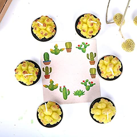 Aixiang faite à la main délicate Non-spilling Cactus Bougies pour Home Decor 6pcs, cactus Y, 1.57