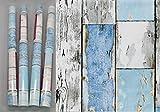 i.stHOME Kebefolie 4er Set - Möbelfolie Holz Scrapwood blue - Dekorfolie je Rolle 45 x 200 cm - Selbstklebefolie - selbstklebende Folie Holzoptik